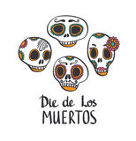 Сolorful patterned skull set, Mexican day of the dead Royalty Free Stock Photo