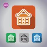 Olorful set Icons of shopping chart and basket. Flat long shadow illustration. Royalty Free Stock Photos