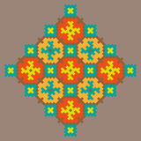 Сolorful stitching pattern on a beige background Royalty Free Stock Photo