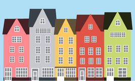 Сolorful street. City street with low colored houses Stock Image