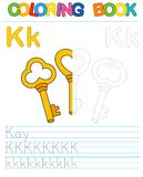 Vector coloring book alphabet. Educational game for kid. Simple level of difficulty. Restore dashed line and color the picture. Tr. Oloring book alphabet royalty free illustration