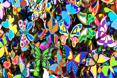 Сoloured butterflies. Coloured butterflies as festive decoration close up Stock Images