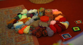 Сolourful balls of wool Stock Images