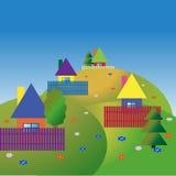 Сolourful houses on the hills. Children's landscape with colourful houses on hills. Vector illustration Stock Image