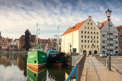 Olowianka bridge. View on Motlawa River and the Old Town. Gdansk, Poland Stock Photography