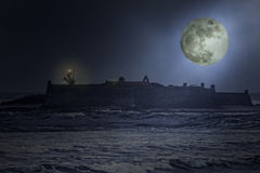 Ols sea fortress at night Royalty Free Stock Photo