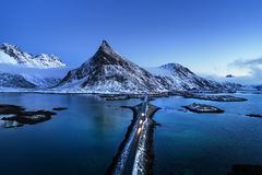 Olstind Mount and bridge. Lofoten islands Stock Image