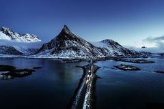 Olstind Mount and bridge. Lofoten islands Stock Photography