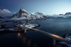 Olstind Mount and bridges. Lofoten islands Stock Photos