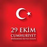Olsun de kutlu de 29 Ekim Cumhuriyet Bayraminiz Traduction : Jour heureux Turquie de République du 29 octobre Image stock