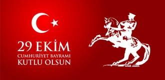 Olsun de kutlu de 29 Ekim Cumhuriyet Bayraminiz Traduction : Jour heureux Turquie de République du 29 octobre Photo libre de droits