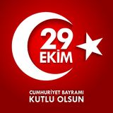 Olsun de kutlu de 29 Ekim Cumhuriyet Bayraminiz Traduction : Jour heureux Turquie de République du 29 octobre Images libres de droits