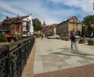 OLSZTYŃSKI, POLSKA, SIERPIEŃ - 21, 2015: Średniowieczni domy Olsztyński w centrum Olsztyński stary miasteczko Fotografia Stock