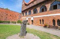OLSZTYN, POLAND - AUGUST 21, 2015: Old teutonic castle in Olsztyn (Gothic Crusaders castle), tourist attraction of eastern Poland Royalty Free Stock Photography