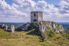 Castle in Olsztyn, Silesia region. Olsztyn, Poland - July 2, 2017: Ruins of castle in Olsztyn village, one of the chain of 25 medieval castles called Eagles royalty free stock images