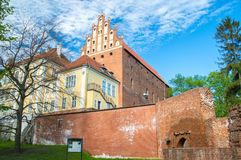 Castle of Warmian Bishops in old town of Olsztyn, Poland. Olsztyn, Poland - May 1, 2018: Castle of Warmian Bishops in old town of Olsztyn, Poland royalty free stock images