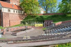 View from amphitheatre for Castle of Warmian Bishops in Olsztyn in Poland. Olsztyn, Poland - May 1, 2018: View from amphitheatre for Castle of Warmian Bishops stock photography