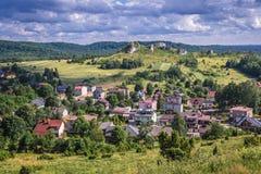 Olsztyn village in Silesia region. Olsztyn village seen from castle ruins in Polish Jurassic Highland, Silesia region in Poland stock photography
