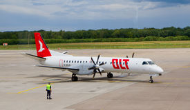 An OLT SAAB 2000 in Bonn-Cologne airport Royalty Free Stock Photography