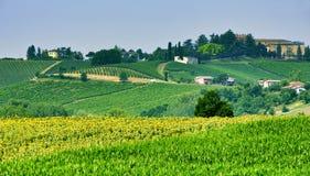Oltrepo Piacentino Włochy, wiejski krajobraz przy latem Fotografia Stock
