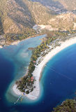 Olu deniz Beach and Blue lagoon. Shot from the air whilst paragliding in Turkey Stock Images