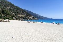 OLUDENIZ,土耳其- 6月04 :游人参观Oludeniz海滩,土耳其 图库摄影