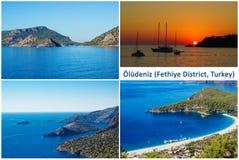 Oludeniz, ein populäres Strandurlaubsort in Fethiye-Bezirk auf der Türkis-Küste von der Türkei Stockfotografie