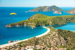Oludeniz lagoon in sea landscape view of beach royalty free stock image