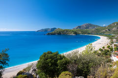 Oludeniz lagoon in sea landscape view of beach Royalty Free Stock Images