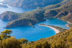 Oludeniz lagoon in sea landscape view of beach Stock Photos