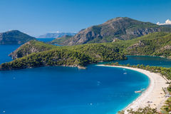 Oludeniz lagoon in sea landscape view of beach Stock Image
