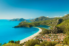 Oludeniz lagoon in sea landscape view of beach Royalty Free Stock Photo