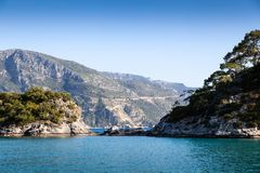 Lagoon in the sea and mountains. Oludeniz lagoon in sea landscape view , Turkey stock images