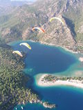 Oludeniz. Paragliding in Oludeniz ,with a beautifull vieuw stock photos