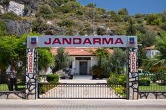 Oludeniz, Turkey - July 10, 2012: entrance of police station coast guards with turkish text jandarma in oludeniz Stock Images