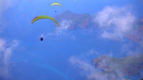 Oludeniz :Turkey Paragliders stock video footage