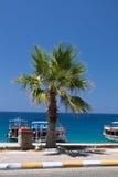 Oludeniz Turkiet - Juli 10, 2012: touristic fartyg på kusten på den underbara stranden på turkisk kustlinjeoludeniz Arkivbilder