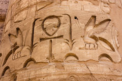 ?olumn im Karnak Tempel, Luxor, Ägypten stockfotografie
