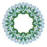 Olvídeme marco redondo no floral aislado en el fondo blanco Foto de archivo libre de regalías
