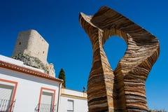 Olvera белая деревня в провинции Кадиса, Андалусии, южной Испании - замке Moorish стоковые фотографии rf