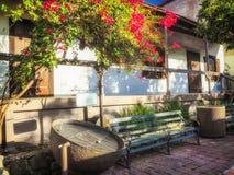 Olvera Street Bench, garden and decoration - Los Angeles, LA, California, CA. USA Stock Photos
