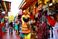 Olvera street LosAngeles Downtown near Union Station California,America,American,United states,handicraft, sun Stock Photography
