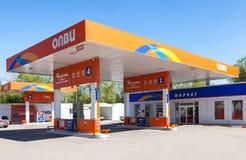 Olvi-Tankstelle am sonnigen Tag des Sommers Stockbild
