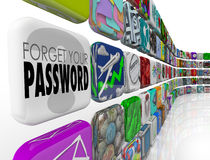 Olvide su Internet Profi del programa de la cuenta del App del software de la contraseña Fotografía de archivo libre de regalías