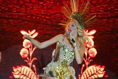 Olya Polyakova, Ukrainian pop singer celebrity, on a stage during her performance, Pobuzke, 15.07.2017, portrait editorial photo Stock Image