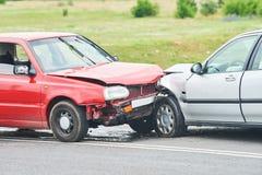 Olycka för bilkrasch på gatan Arkivbilder