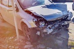 Olycka för bilkrasch på vägen Royaltyfri Foto