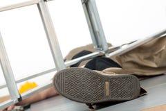 Olycka med stegen Fotografering för Bildbyråer