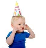 Olycklig födelsedagpojke Fotografering för Bildbyråer
