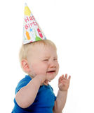 Olycklig födelsedagpojke Royaltyfri Fotografi